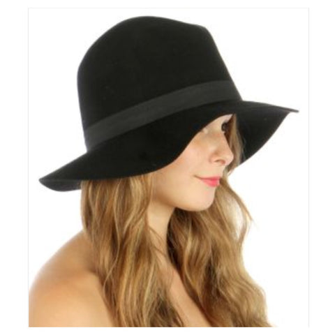 Wool Felt Panama Hat Black