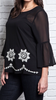 Floral Embroidered Bell Top Black