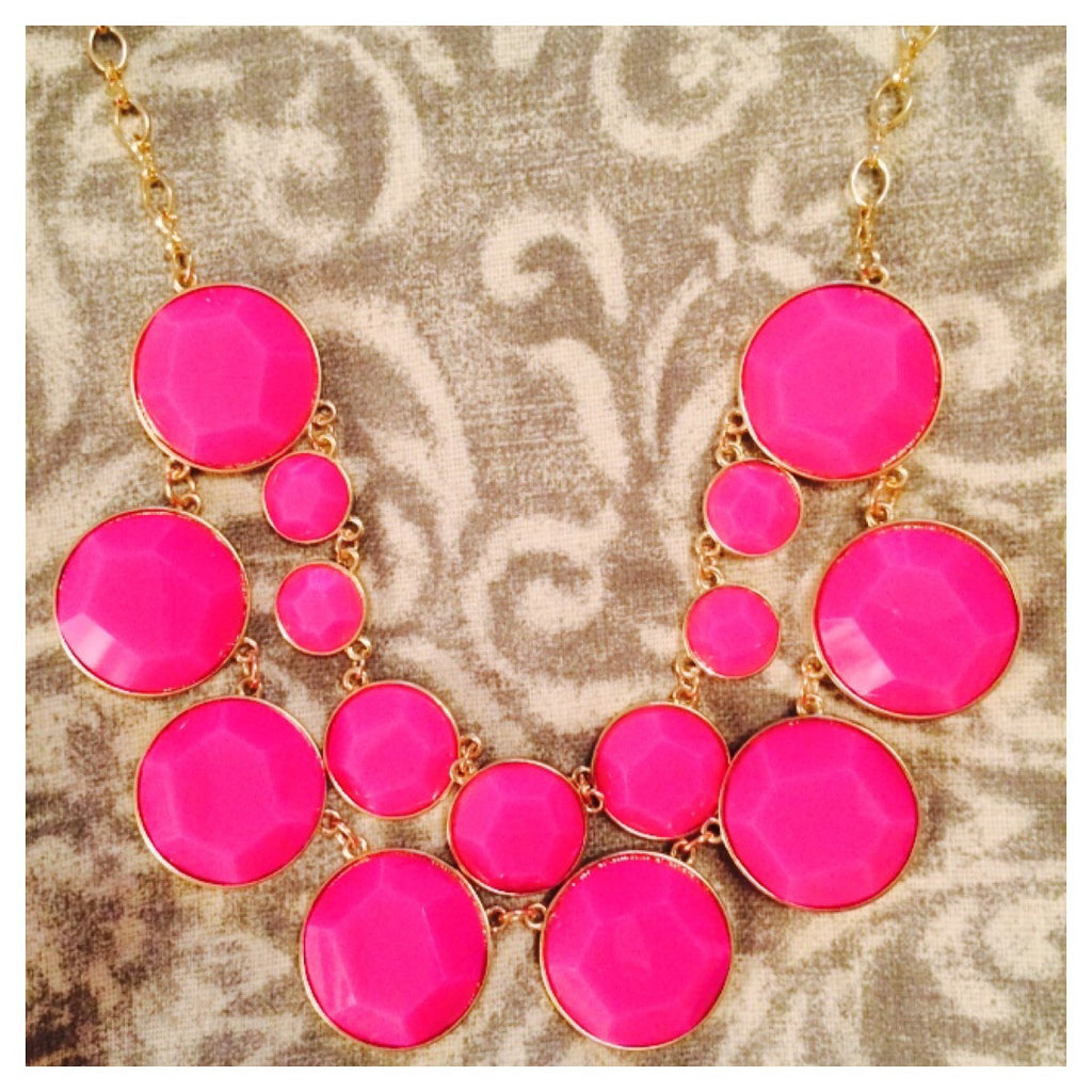 Double Row Necklace Hot Pink