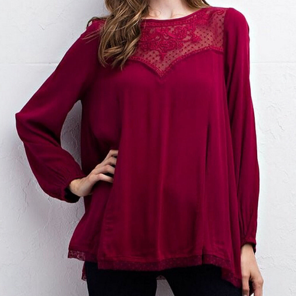 Solid Top w/Lace Yoke Wine