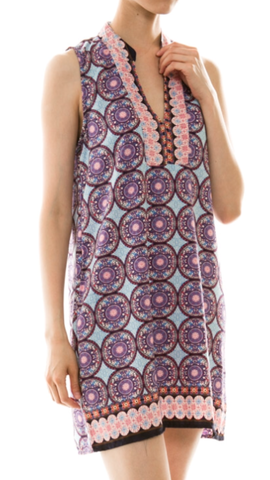 Print V-Neck Sleeveless Dress