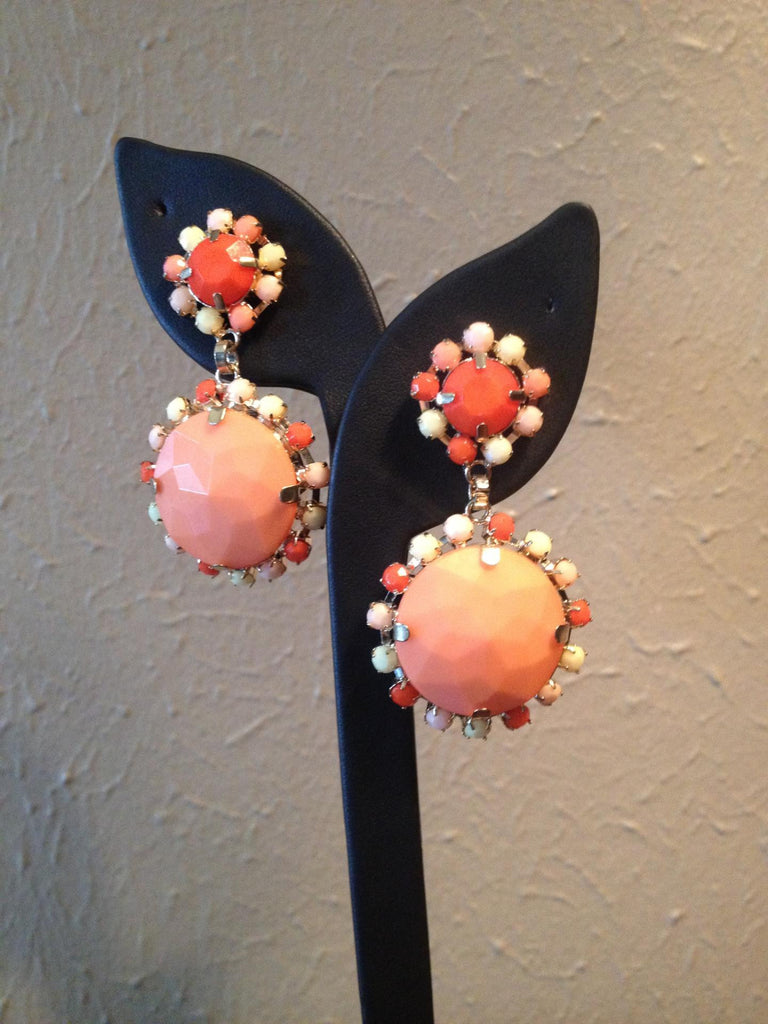 Peach & Coral Drop Earrings
