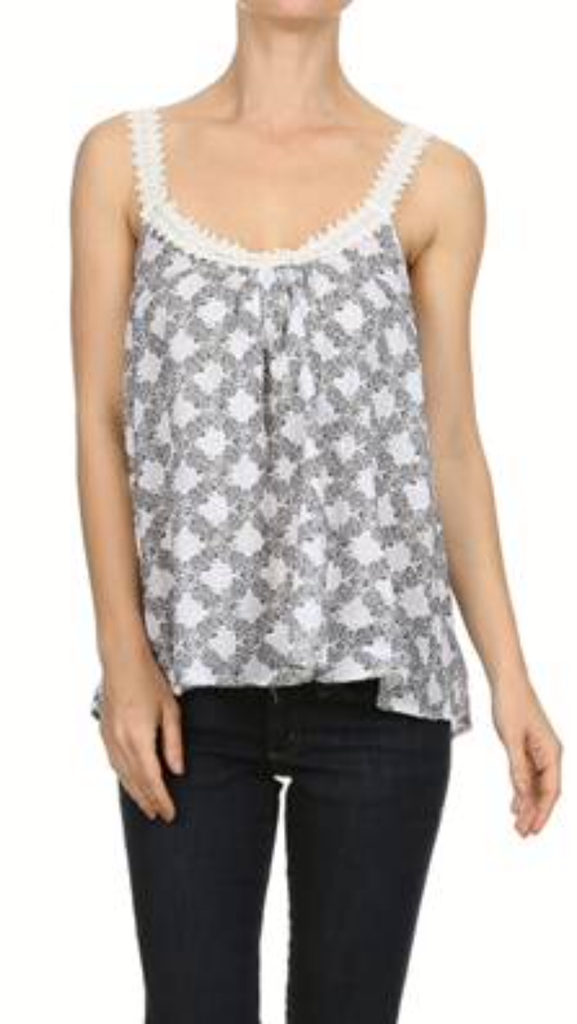 Lace Neck Printed Tank Top WHT/BLK