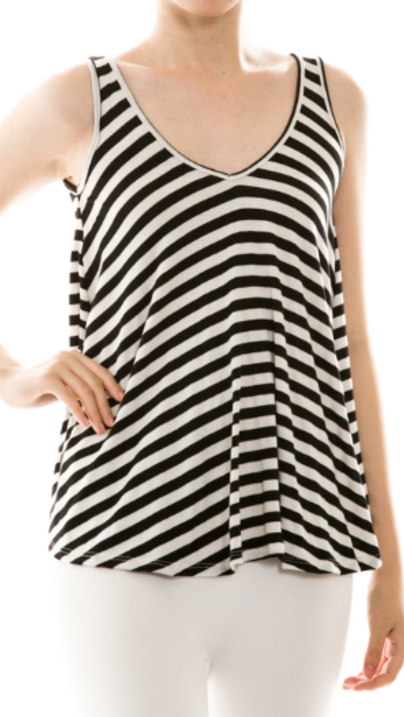 Black/White Stripe Sleeveless Flare Tank