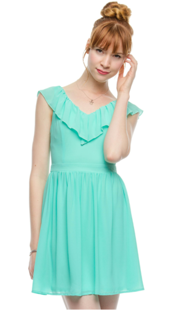 Sleeveless. Dress With Top Ruffle Pistachio