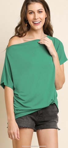 Emerald Green Gathered Front Top