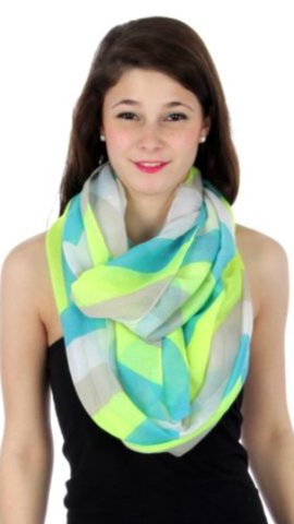 Pastel Chevron Wide Infinity Scarf Lime/Blue