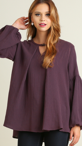 Bishop Sleeve Top w/Keyhole Eggplant