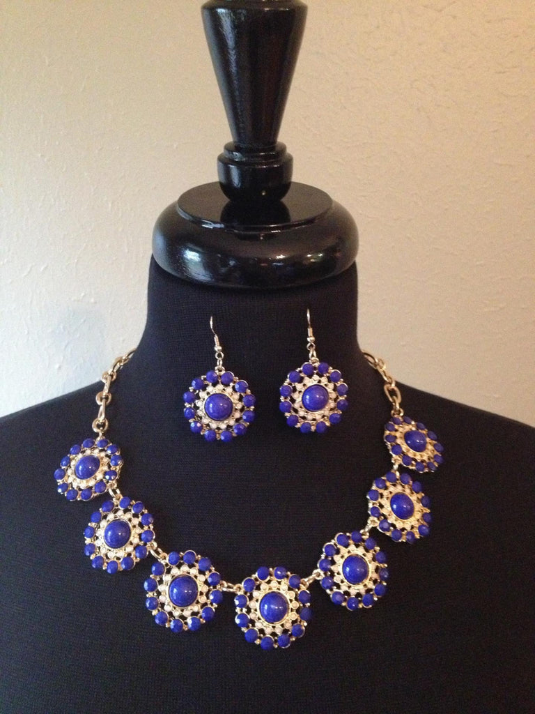 Cobalt Blue Round Necklace & Earrings
