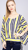Angel Sleeve Yellow/Navy Stripe Top