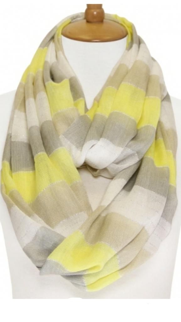 Stripe Lightweight Infinity Scarf Yellow