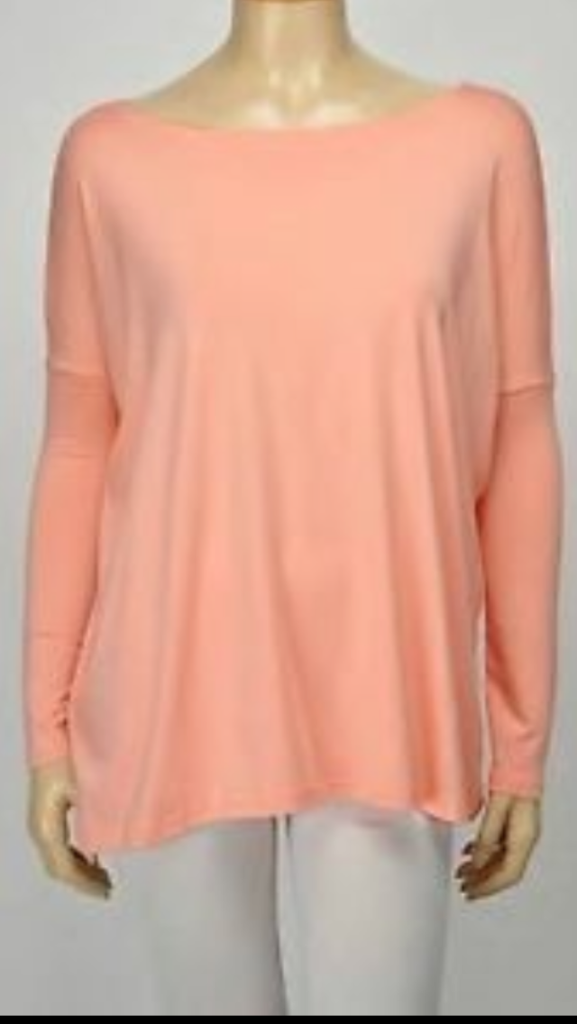 Solid Dolman Long Sleeve Top Peach