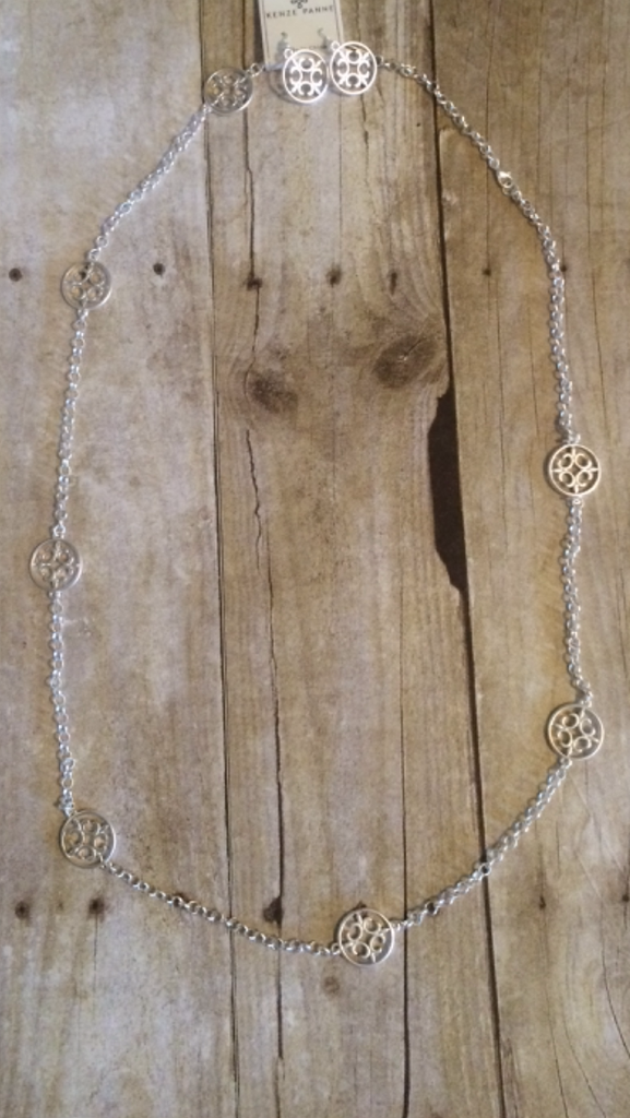 Silver Sign Long Necklace w/earrings