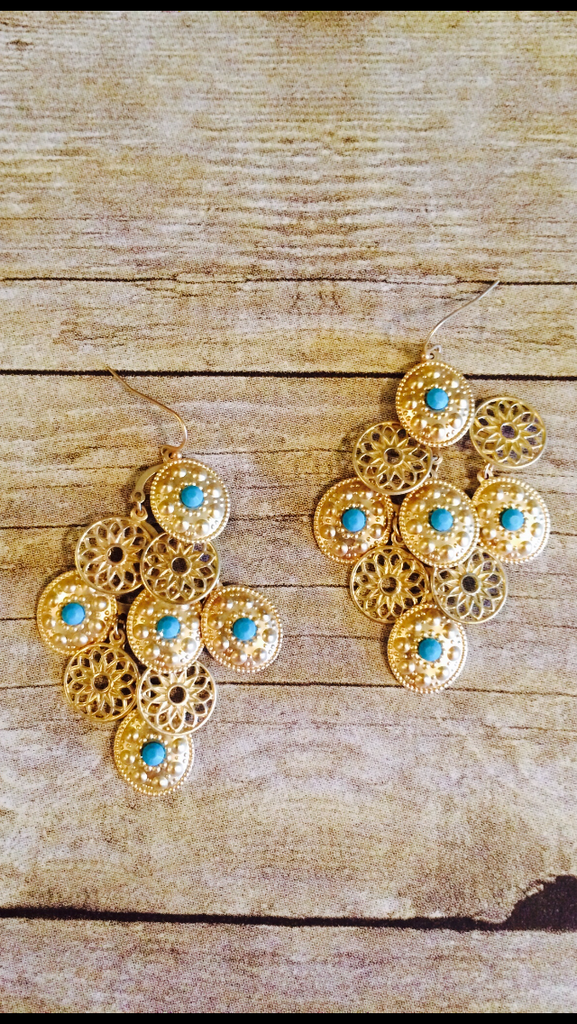Lightweight Turquoise And Gold Chandelier Earrings