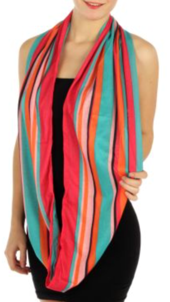 Vertical Stripe Infinity Scarf Multicolor