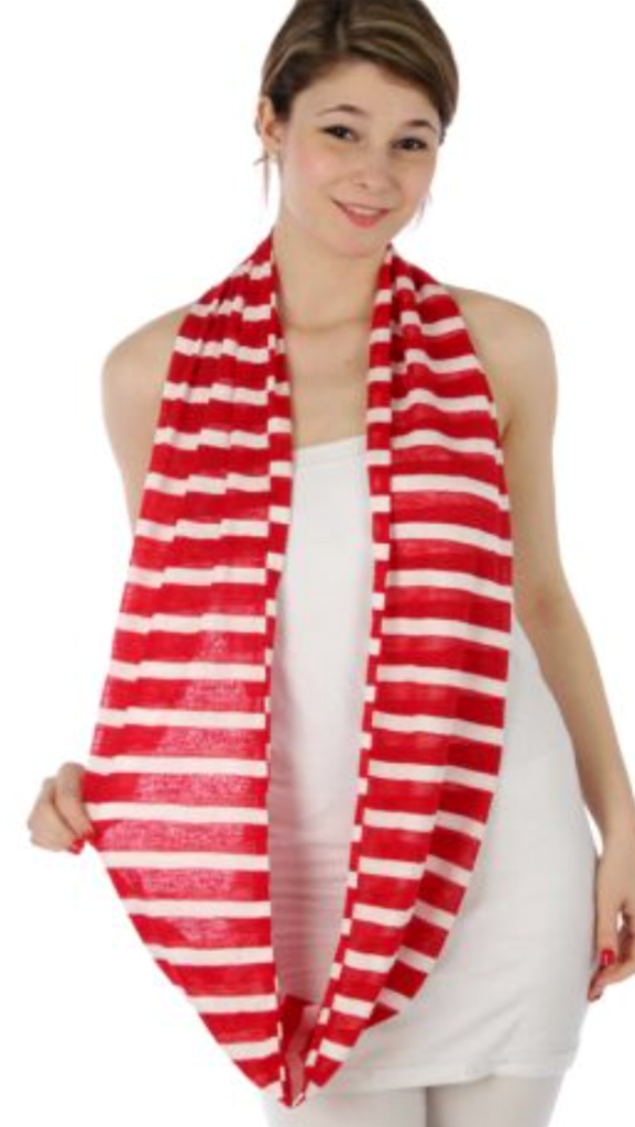 Stripe Infinity Scarf Red/White