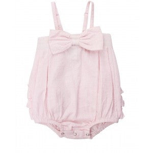 Pink Seersucker Bow Front Bubble Romper