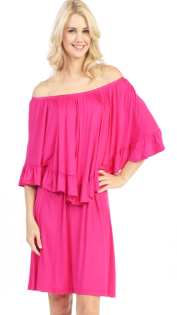 Fushia Ruffle Tunic Dress