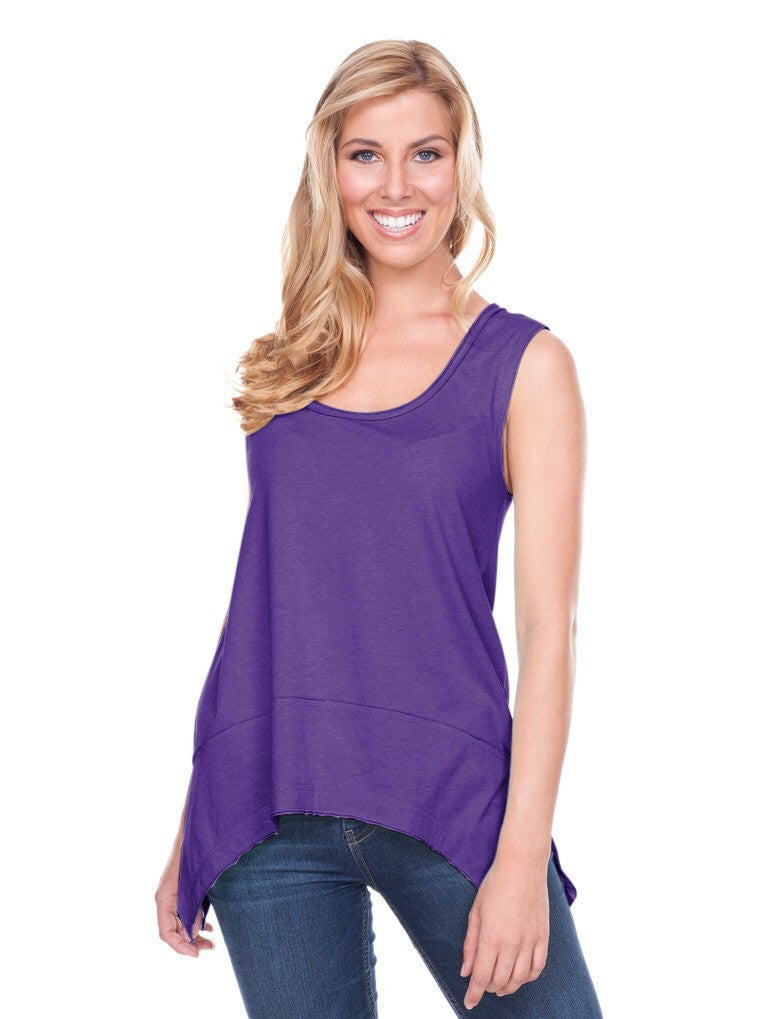 Purple Jersey Scoop Neck Raw Edge Tank