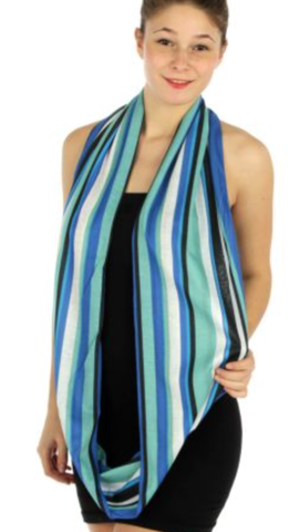 Vertical Stripe Infinity Scarf Blue