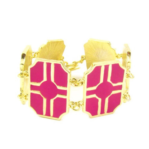 Square Toggle Bracelet- Hot Pink