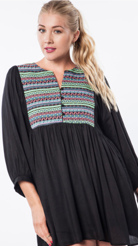 Tribal Stripe Dress Black