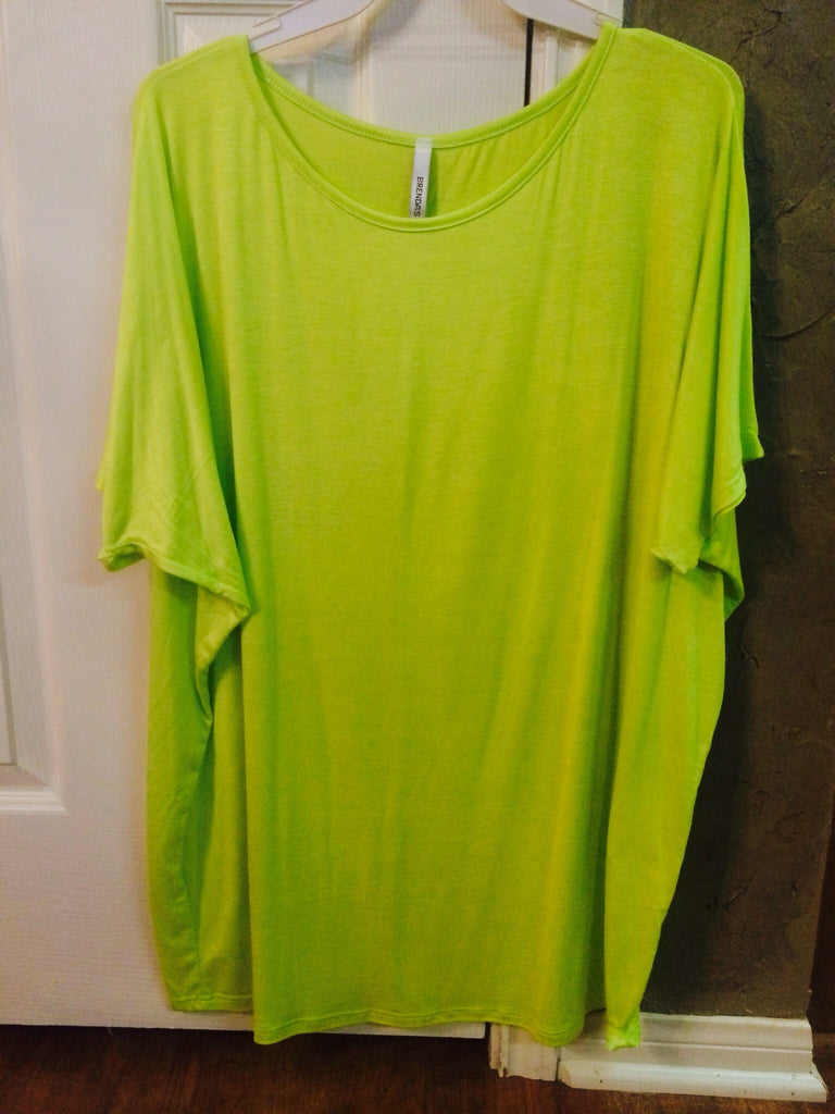 Solid Pull Over Loose Top Lime Green
