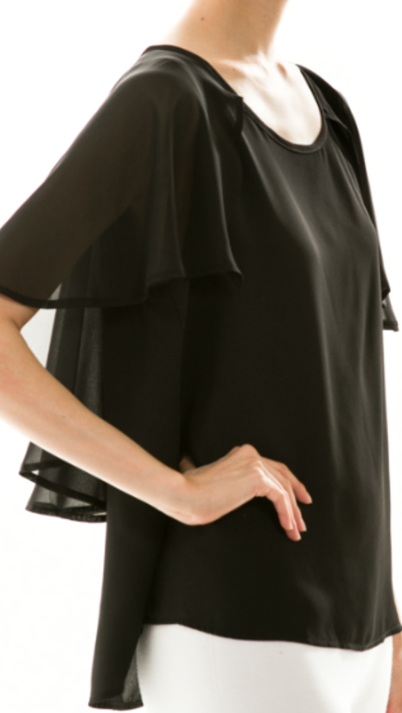 Solid Chiffon Blouse Black