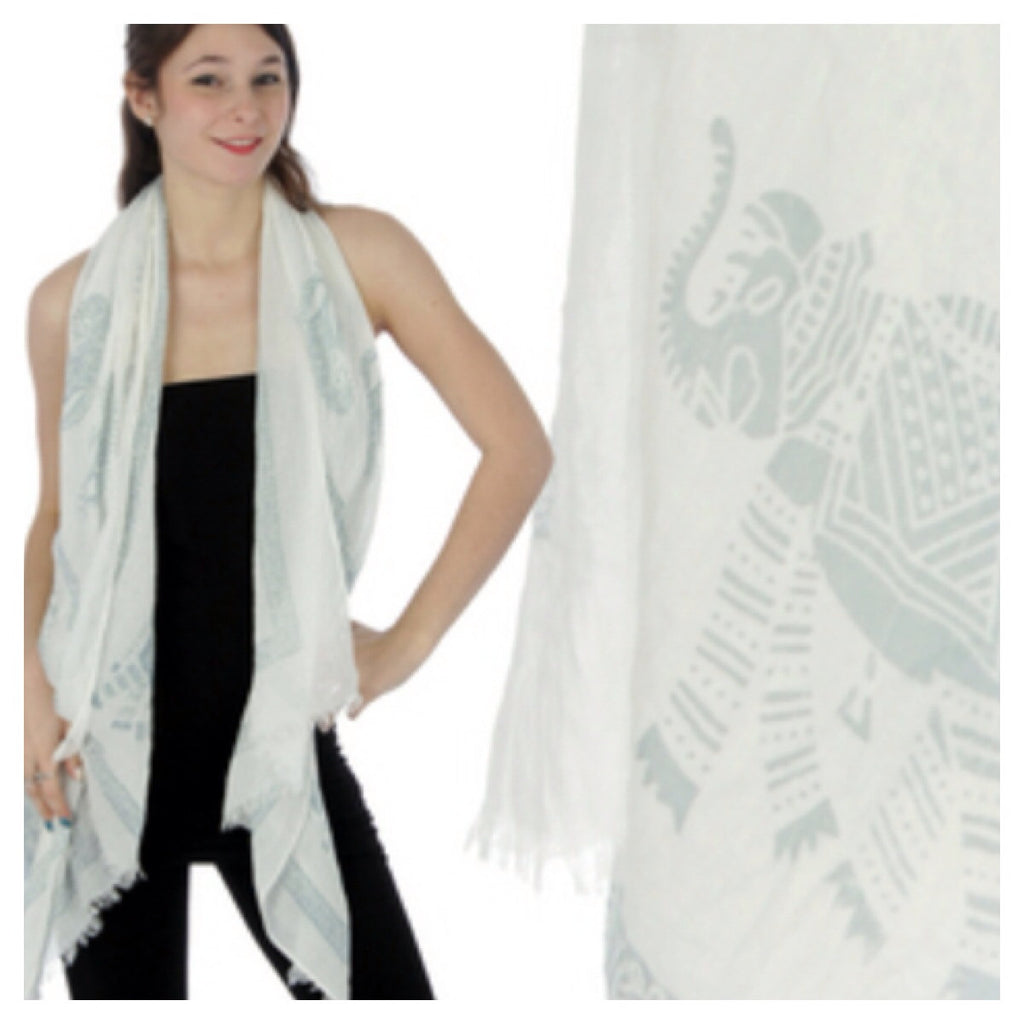 Cotton Royal Elephant Scarf Grey