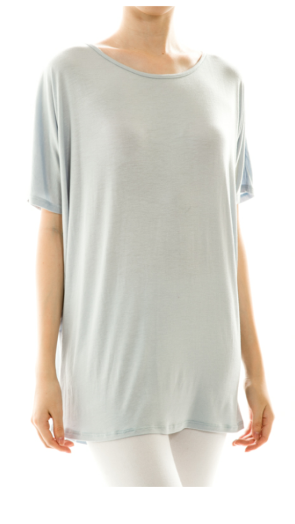 Solid Pull Over Loose Top Light Blue