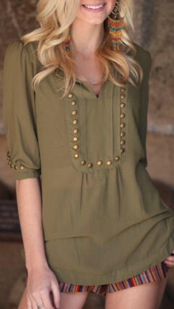 Army Green Top With Bronze Studs