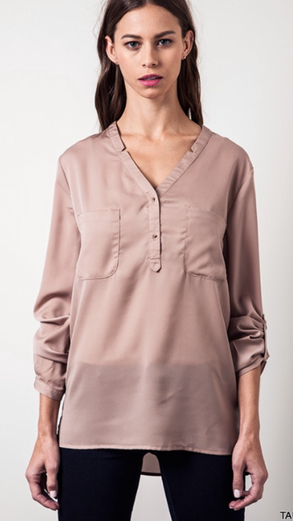 Flat Collared Blouse Taupe w/gold buttons