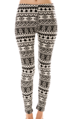 Black White Printed Leggings