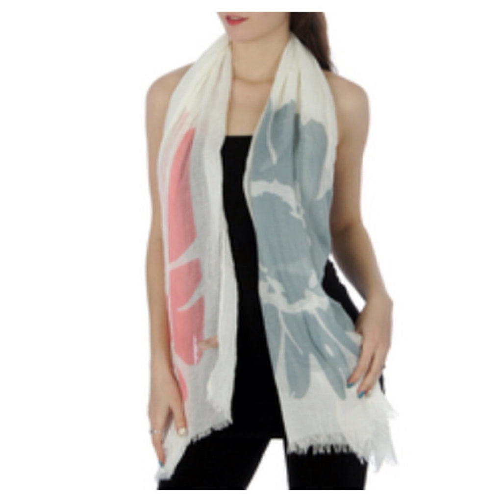 Cotton Floral Scarf Pink/Grey