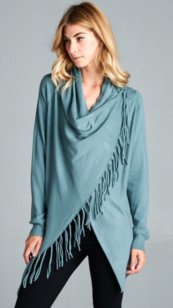 Dusty Blue Asymmetrical Cardigan