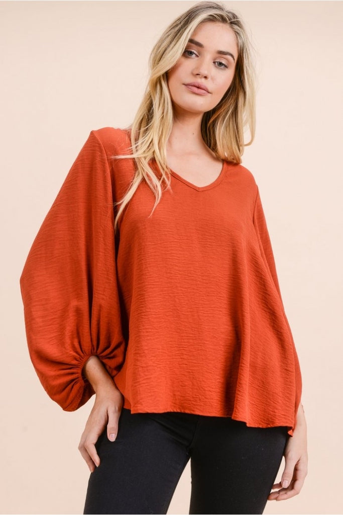 Bubble Sleeve Rust Top