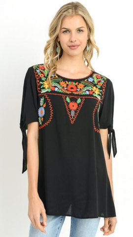 Cha Cha Cha Colorful Embroidered Yoke Top