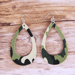 Camo lightweight open leather earrings