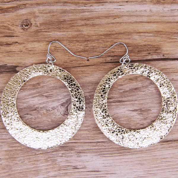 Rose Gold Circle Cutout Leather Earrings