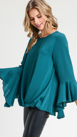 Hunter Green  Solid top with long high-low flare sleeves