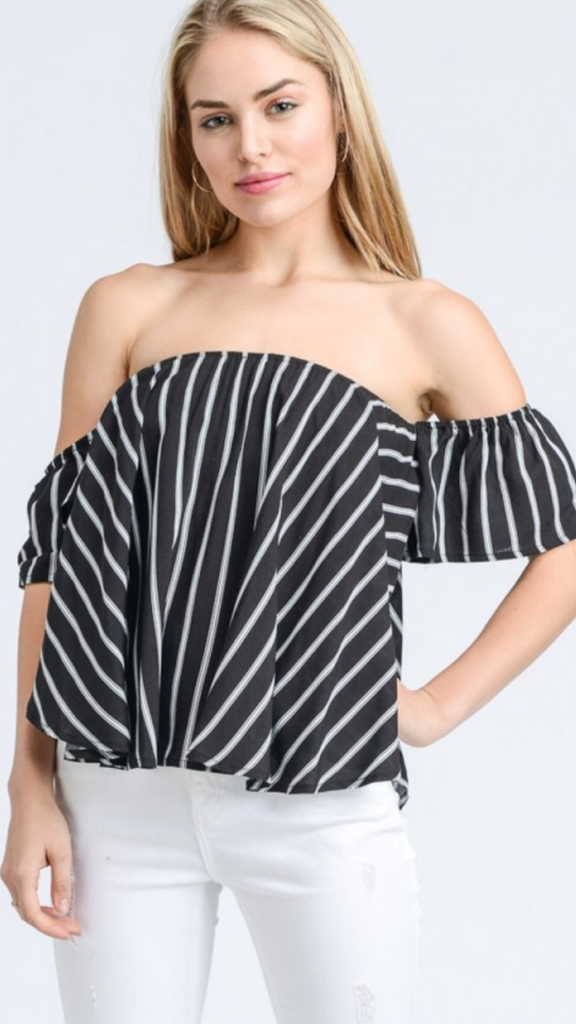 Off The Shoulder Black/White Top