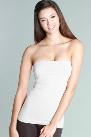 White Tube Top w/side Shirring