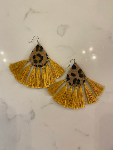 Leopard Golden Tassel Earrings