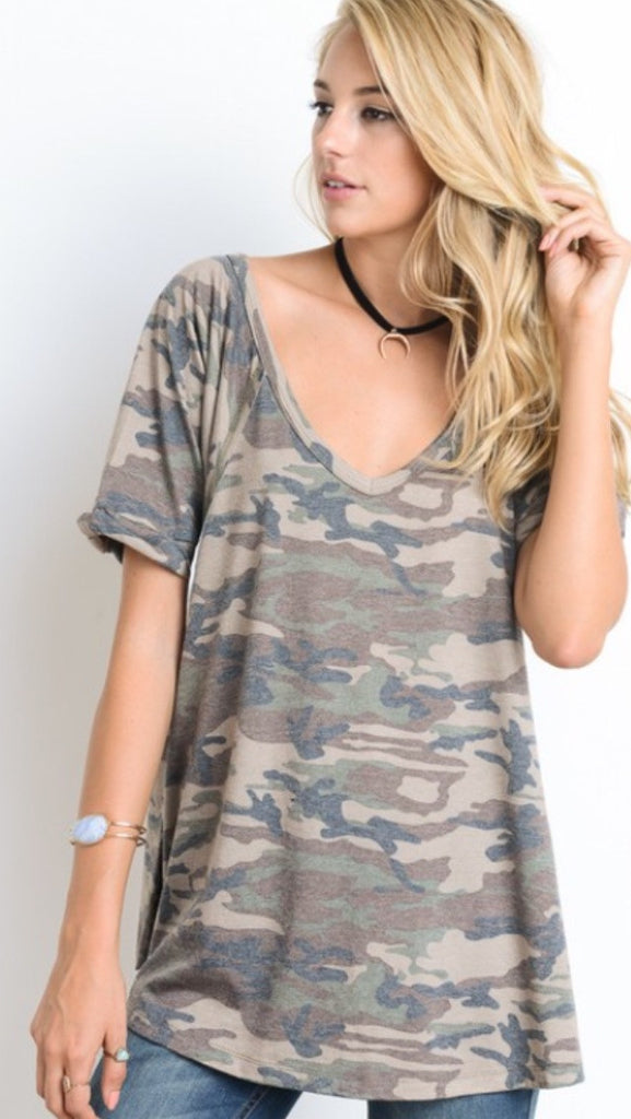 Olive Camo Top