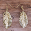 Cream Feather w/Gold Feather Earrings
