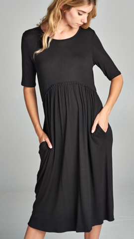 Empire Waist Dress Black w/Pockets