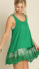 Emerald Green Sleeveless Lace Top