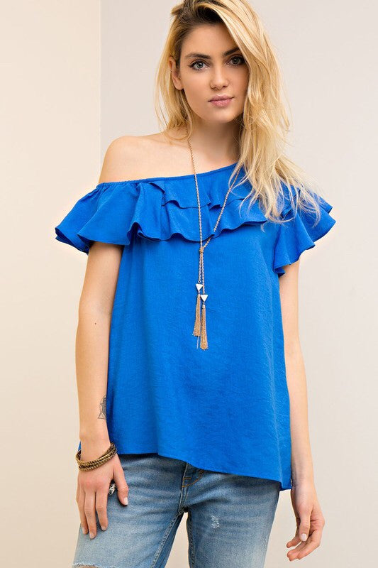 Royal Blue One Shoulder Ruffle Top