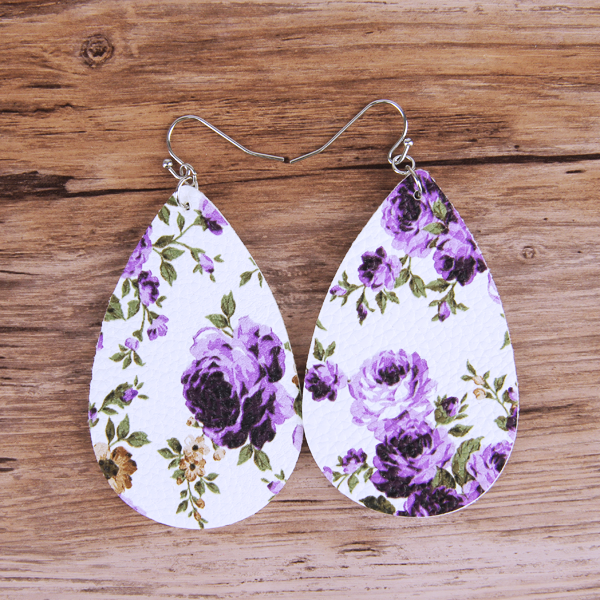Floral Lavender Teardrop Leather Lightweight Earrings