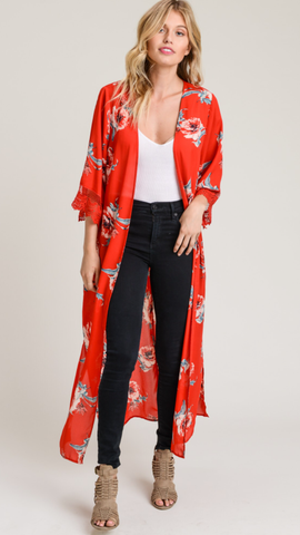 Floral Red kimono with scalloped lace trim half sleeves and vented hem
